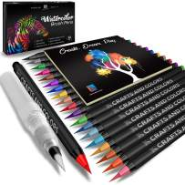Watercolor Brush Pens – 20 Vibrant Markers with Bonus 1 Refillable Water Brush Pen, Paper Pad and Carry Case – Non-Toxic Safe & Fun Watercolors in Gift Ready Package