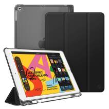 """Fintie Case with Pencil Holder for iPad 7th Generation 10.2 Inch 2019 - Slim Shell Lightweight Cover with Translucent Frosted Stand Hard Back, Supports Auto Wake/Sleep for iPad 10.2"""", Black"""