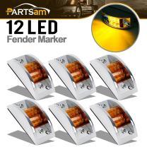 "Partsam 6X 4-4/5"" Rectangular Chrome Armored Clearance & Side Marker Light 12 LED Amber"