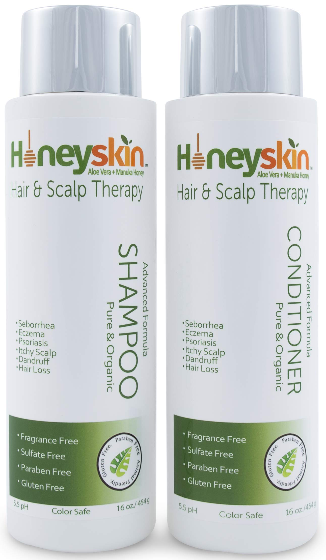 Hair Growth Shampoo and Conditioner Set - with Manuka Honey, Aloe Vera and Coconut Oil - for Frizzy, Itchy and Dry Scalp - Hair Loss and Thinning Treatment - Paraben and Sulfate Free (16oz)