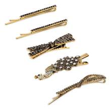 YOHAMA 5 pcs Metal Hair Clips, Glitter Black Crystal Alligator, Pin Clips, Handmade Retro Barrettes for Girls, Women Decoration Hair, Fix Bangs, As Gifts for Friends, Colleague, Mother.