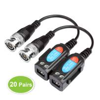 20 Pairs Video Balun Connectors Passive HD-CVI/AHD/TVI Signal Transceivers Max 8MP 720P/960MP/2MP/3MP/4MP/5MP Single Channel for BNC Male Cable Transmitter CCTV Security Camera System