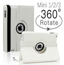 iPad Mini 1/2/3 Case - 360 Degree Rotating Stand Smart Cover Case with Auto Sleep/Wake Feature for Apple iPad Mini 1 / iPad Mini 2 / iPad Mini 3 (White) …