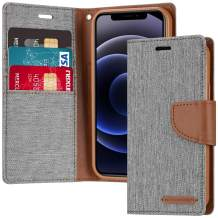 """Goospery Canvas Wallet for iPhone 12 Mini 5.4""""(2020) Case, Denim Casual Style Stand Flip Card Holder Phone Cover (Gray) IP12M-CAN-GRY"""