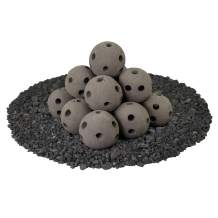 Hollow Ceramic Fire Balls | Set of 14 | Modern Accessory for Indoor and Outdoor Fire Pits or Fireplaces – Brushed Concrete Look | Charcoal Gray, 4 Inch