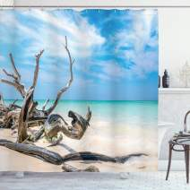 """Ambesonne Driftwood Shower Curtain, Seascape Theme Branches on The Sandy Beach of Cuba and The Sky Image, Cloth Fabric Bathroom Decor Set with Hooks, 70"""" Long, Turquoise Sky Blue"""