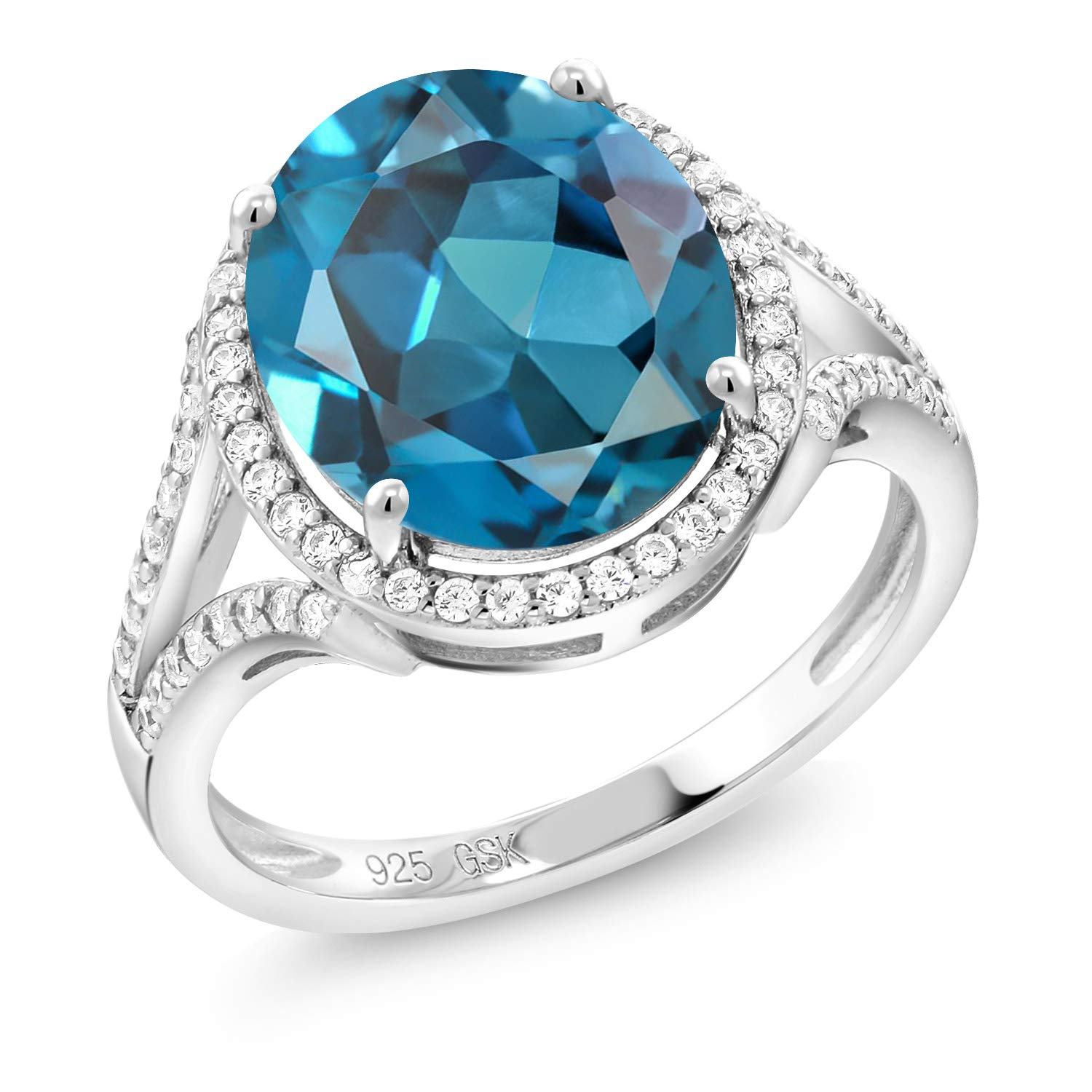 Gem Stone King London Blue Topaz 925 Sterling Silver Women's Ring (6.02 Ct Oval Gemstone Birthstone Available 5,6,7,8,9)