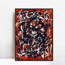 "INVIN ART Framed Canvas Giclee Print Art Free Form by Jackson Pollock Abstract Wall Art (20"" X 24"",Black Slim Frame)"