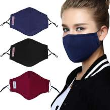 B bangcool Cloth Face Shield Anti Droplet Fabric Mouth Nose Protective Face Covering Shield Face Visor Shield Covering with Filter Pad (3PCS)