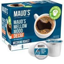 Maud's Decaf Medium Dark Roast Coffee (Mellow Mood), 24ct. Solar Energy Produced Recyclable Single Serve Decaf Medium Dark Roast Coffee Pods – 100% Arabica Coffee California Roasted, KCup Compatible