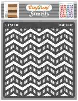 CrafTreat Chevron Stencils for Painting on Wood, Wall, Tile, Canvas, Paper, Fabric and Floor - Striped Chevrons Stencil - 6x6 Inches - Reusable DIY Art and Craft Stencils - Stripes Stencil