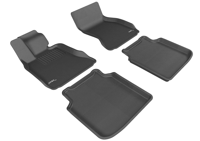 3D MAXpider Complete Set Custom Fit All-Weather Floor Mat for Select BMW 7 Series Li (F02)/ Li ActiveHybrid (F04) Models - Kagu Rubber (Black)