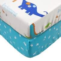 Brandream Baby Boys Crib Sheet Dinosaur Fitted Sheet 2 Pack Cotton Crib Sheet Sets White/Blue Dinosaur Crib Mattress Sheets Breathable/Soft
