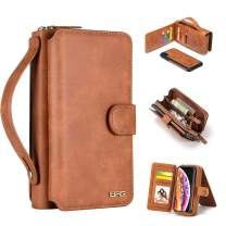 """iPhone Xs Max Case, [Magnetic Detachable] Wallet PU Leather Mirror Case Protective Removable Flip Folio Cover Zipper Purse Clutch Handbag with [11 Card Holder Slot] for iPhone Xs Max 6.5"""" - Brown"""