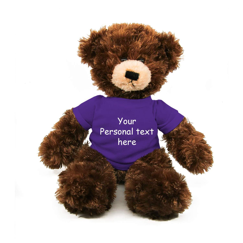 Plushland Chocolate Brandon Teddy Bear 12 Inch, Stuffed Animal Personalized Gift - Custom Text on - Great Present for Mothers Day, Valentine Day, Graduation Day, Birthday (Purple Shirt)