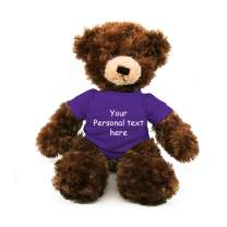Plushland Chocolate Brandon Teddy Bear 12 Inch, Stuffed Animal Personalized Gift - Custom Text on - Great Present for Mothers Day, Valentine Day, Graduation Day, Birthday (Purple Shirt)