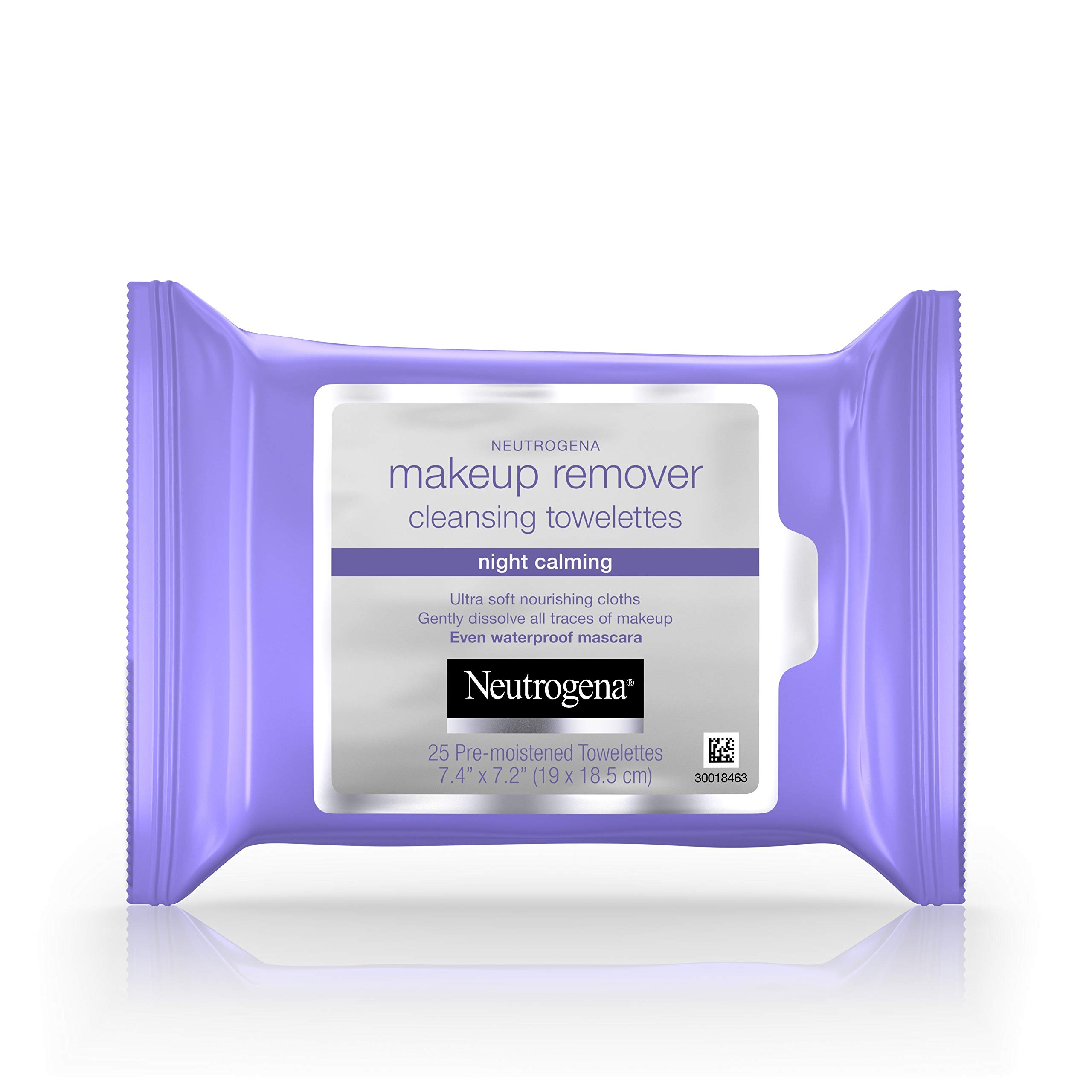 Neutrogena Makeup Remover Night Calming Cleansing Towelettes, Disposable Nighttime Face Wipes to Remove Dirt, Oil & Makeup, 25 ct