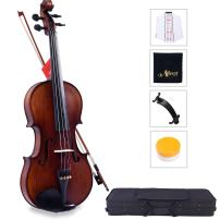 Aileen Solidwood Ebony Violin with D'Addario Strings, Case, Rosin, Shoulder Rest, Cleaning Cloth and Finger Sticker, Size 4/4 (Full Size)
