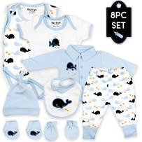 Baby Bright Newborn Clothes Set for Boy 0 to 3 Months 8 pcs Set Made from 180GSM BioSilky 100% Combed Cotton with Embroidery Includes Bib Mittens Booties Pajama Set Cap and 2 Bodysuits