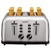 Toaster 4 Slice, Geek Chef Extra Wide Slots Stainless Steel Four Slice Toaster, Bagel/Defrost/Cancel Function 6 Browning Settings Auto Pop-up Removable Crumb Tray (4-slice)