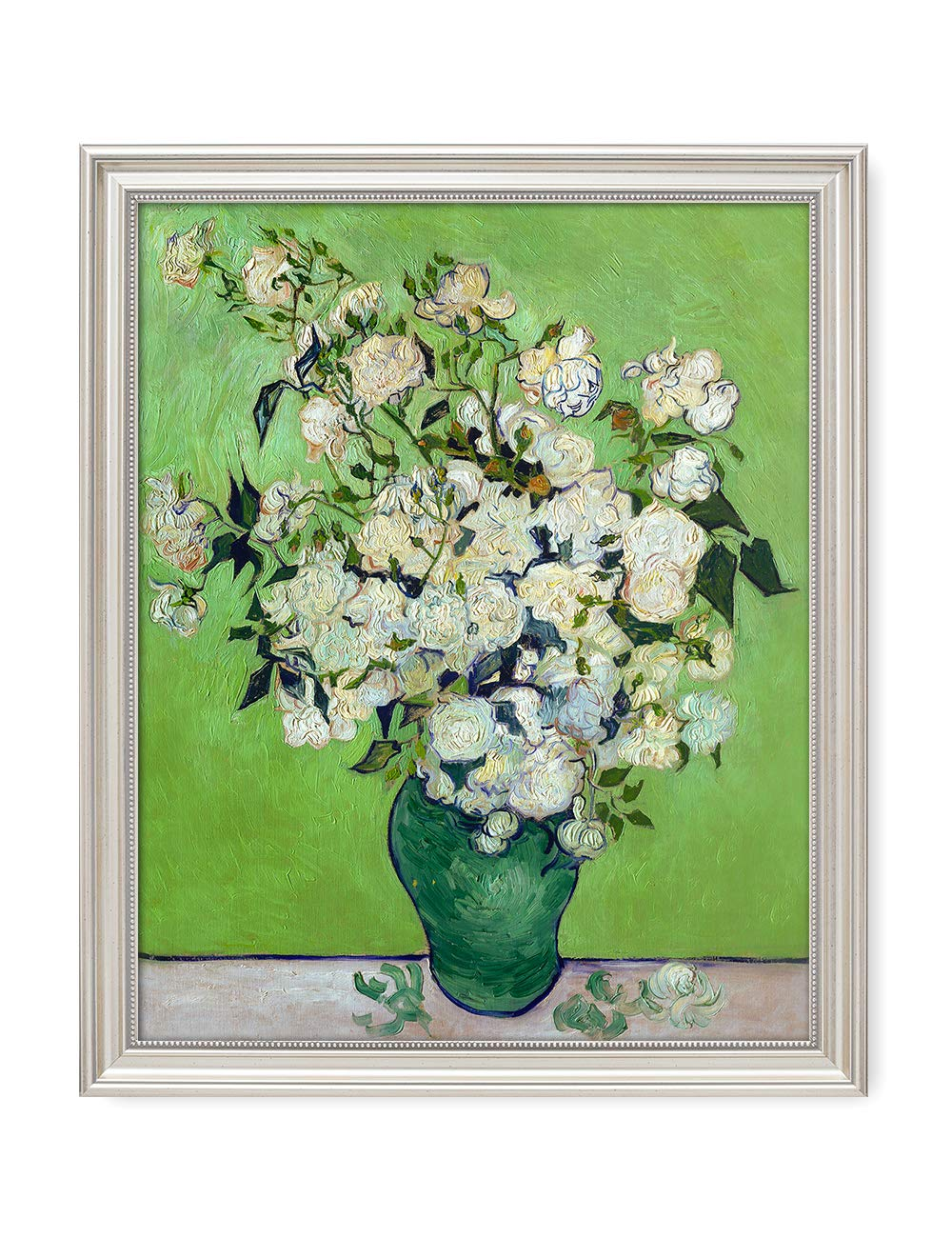 DECORARTS - Pink Roses in a Vase, Vincent Van Gogh Art Reproduction. Giclee Print& Framed Art for Wall Decor. 20x16, Framed Size: 23x19