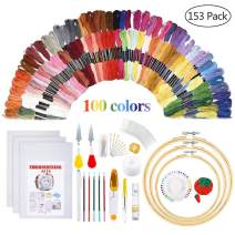 Embroidery Starter Kit - Embroidery Kit Including 100 Color Threads, Instructions, 5 PCS Bamboo Embroidery Hoops, Circular Packing Bag and Cross Stitch Tools for Adults and Kids Beginners