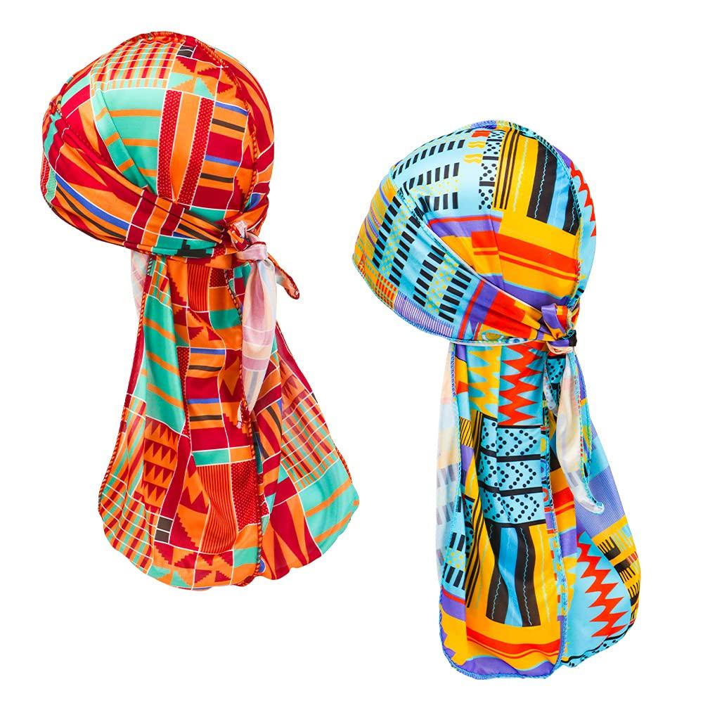Silky Durags for Men Women Headwrap Durag Headscarf Soft Cap for Hair Waves (Teal, Yellow)