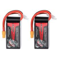 GOLDBAT 1300mAh 4S 100C 14.8V Softcase LiPo Battery Pack with XT60 Plug for Heli Airplane Drone FPV Racing (2 Packs)
