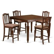 5 Pc counter height Dining set-Square gathering Table with 4 Stools