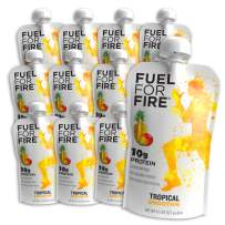 Fuel For Fire - Tropical (12 Pack) Fruit & Protein Smoothie Squeeze Pouch | Perfect for Workouts, Kids, Snacking - Gluten Free, Soy Free, Kosher (4.5 ounce pouches)