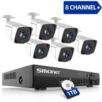 2020 SMONET 1080P Security Camera System,8-Channel Outdoor/Indoor Surveillance System(1TB Hard Drive),6pcs 1080P(2.0MP) Security Cameras,65ft Night Vision,P2P, Free APP,Easy Remote View