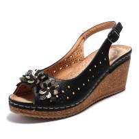 Alexis Leroy Women's Flower Peep Toe Hollow Out Slingback Platform Wedge Sandals