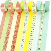 PuTwo Washi Tape, 12 Rolls Pastel Washi Tape, 15mm Washi Tape Set, Decorative Tape, Cute Washi Tape, Vintage Washi Tape, Japanese Washi Tape, Washi Tape for Journal, Decorative Tape for Crafts, Green