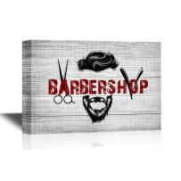wall26 - Hair Style Canvas Wall Art - Cool Barbershop Concept - Gallery Wrap Barber Shop Wall Decoration | Ready to Hang - 16x24 inches