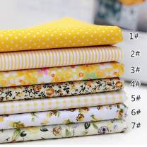 7pcs Different Pattern Patchwork Fabric 100% Cotton Sewing Scrapbooking Quilting Artcraft for Sewing Craft Cloth DIY Wallet Cushion Cover(25 25cm) Yellow