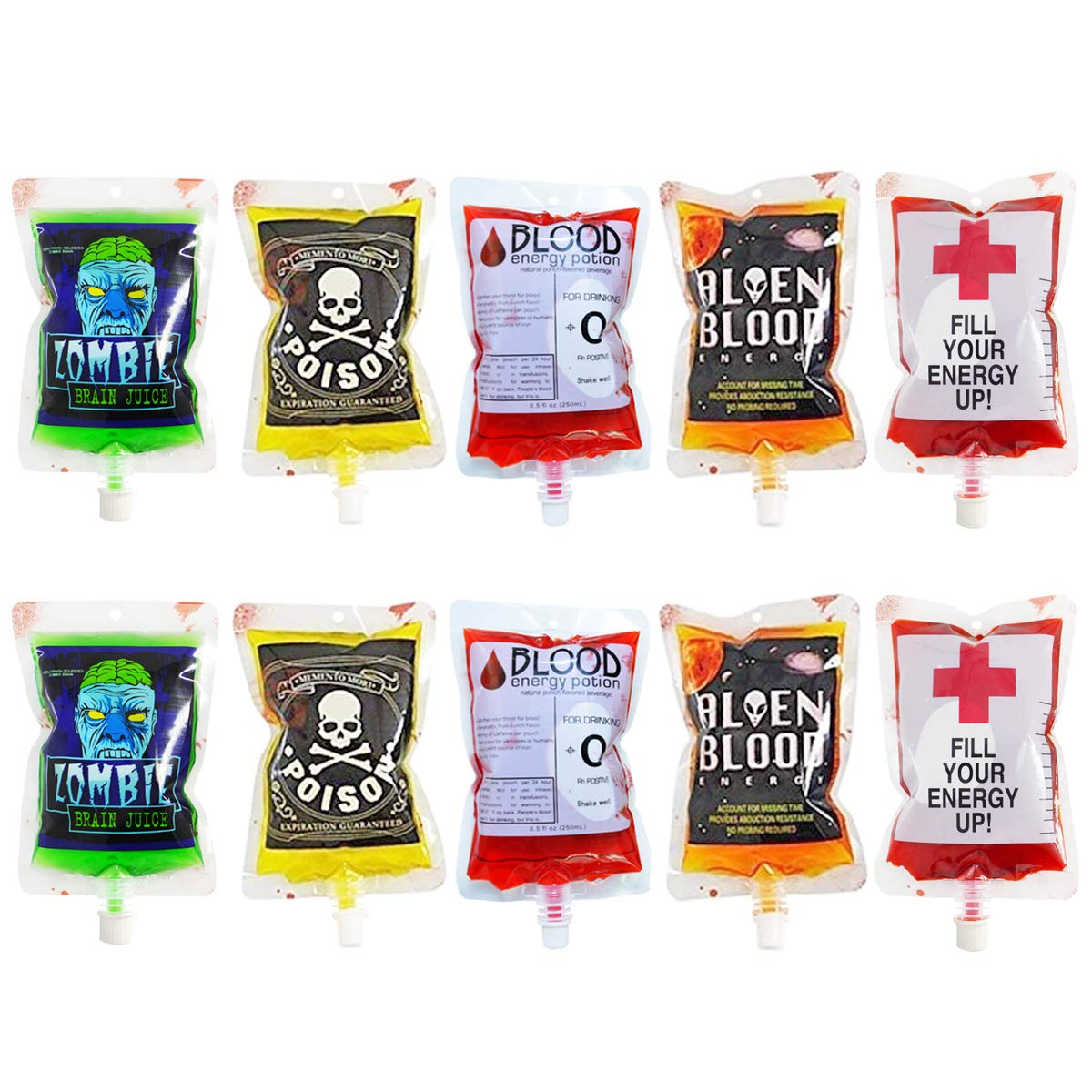 megrocle 10 Pack Novelty Blood Bags for Drinks Container, Reusable Food Grade Bags 8.5oz with Cap, 5 Patterns Halloween Party Cups for Theme Parties, Zombie, Vampire Party Favors