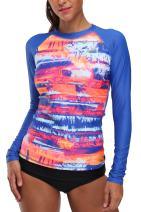 Vegatos Womens Long Sleeve Printed Rash Guard UV Swim Shirt Sufring Athletic Top