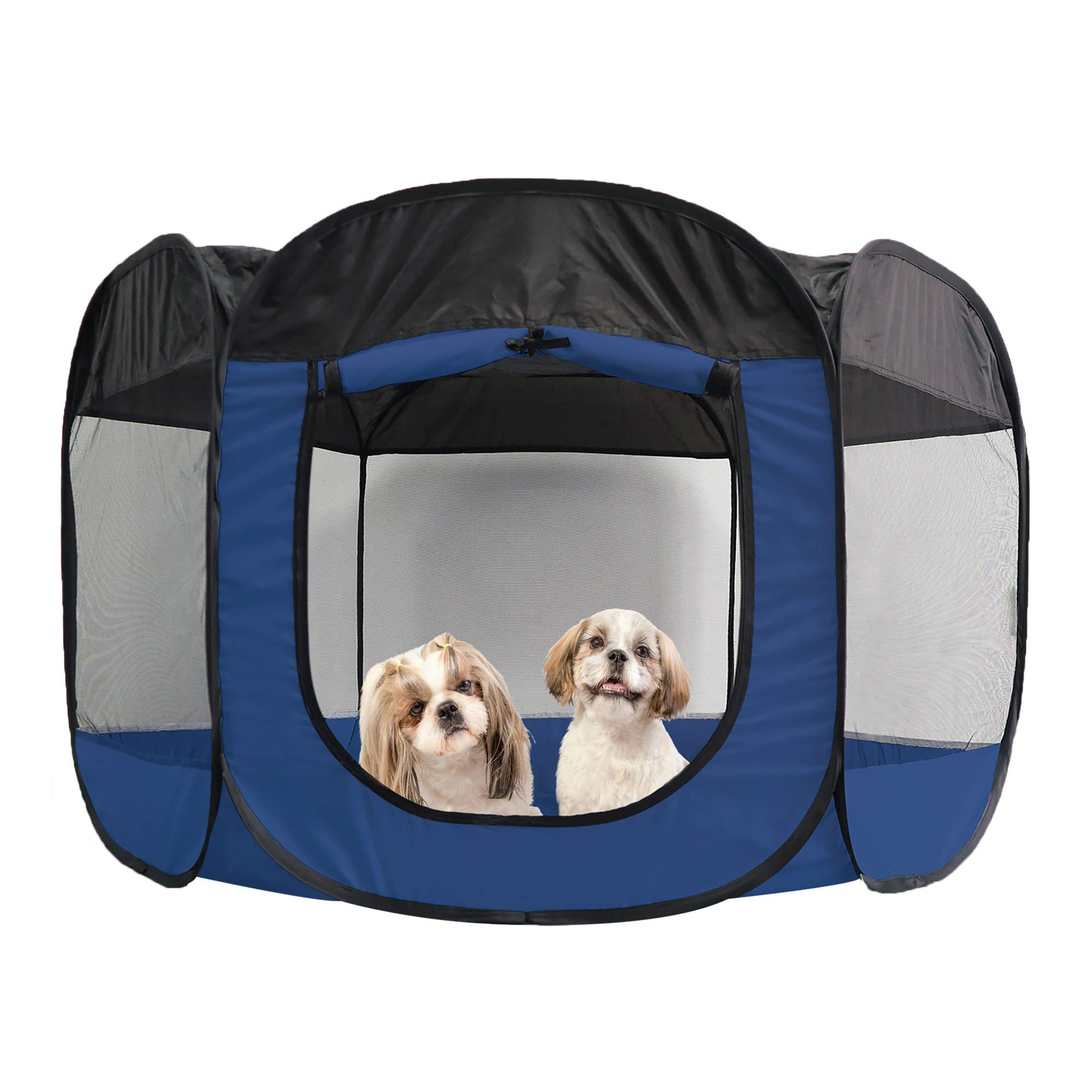 Furhaven Pet Playpen | Indoor/Outdoor Mesh Open-Air Playpen & Exercise Pen Tent House Playground for Dogs & Cats, Sailor Blue, Extra Large
