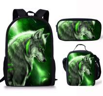 Micandle Wolf Animal School Backpack Lunch Bag Pencil case Set with Padded Straps 3D Cartoon Student Stylish Unisex Daypack for Boys Girls School Book Bags