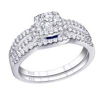 SHELOVES Engagement Wedding Ring Set for Women Round Cz Blue Sapphire 925 Sterling Silver Size 5-10