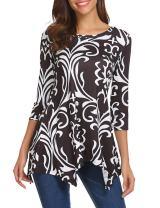 Sherosa Women Plus Size 3/4 Sleeve Tunic Tops Loose Floral Print Shirt Blouses Tops