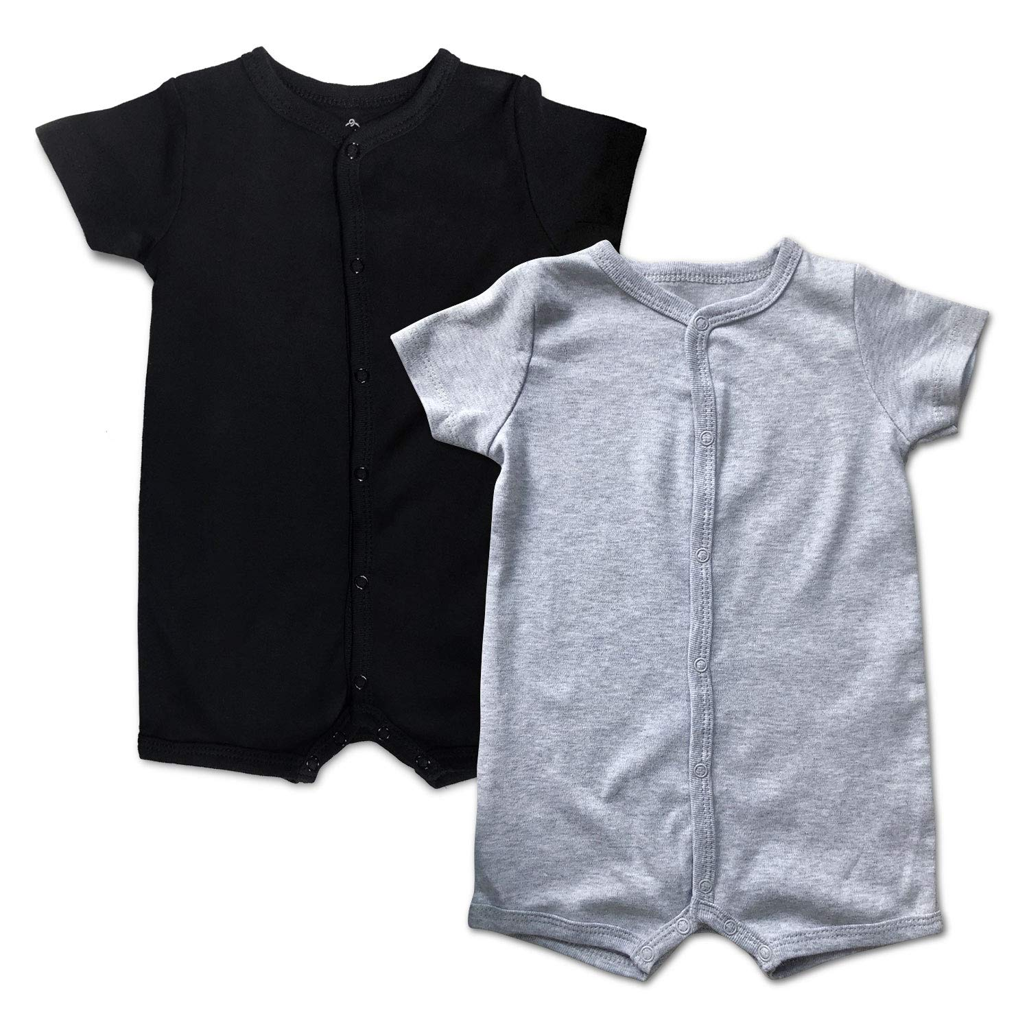 DEFAHN Baby Boys Girls Short/Long Sleeve Rompers, 2 Pack Solid Color Cotton One-Piece Jumpsuit Coverall