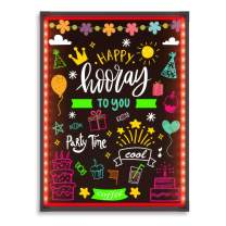 "Hosim LED Message Writing Board,32""x24"" Illuminated Erasable Neon Effect Restaurant Menu Sign with 8 Colors Markers, 7 Colors Flashing Mode DIY Message Chalkboard for Kitchen Wedding (6080)"