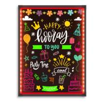 """Hosim LED Message Writing Board,32""""x24"""" Illuminated Erasable Neon Effect Restaurant Menu Sign with 8 Colors Markers, 7 Colors Flashing Mode DIY Message Chalkboard for Kitchen Wedding (6080)"""