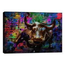 "Wall Street Charging Bull Motivational Wall Art Canvas Print Poster Office Decor Inspirational Entrepreneur Quotes Wall Art Decoration Inspiring Picture Framed Prints Ready to Hang - 12""Hx18""W"