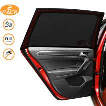 Kuyang Car Window Shade, 2 Pack (Size L) Car Sun Shade for Car Window, Universal Breathable Mesh for Back Seat Windshield, Good for Kids, Passengers, Fit Most of Vehicles.