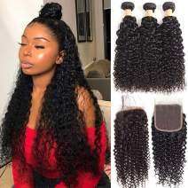 Brazilian Virgin Curly Hair 3 Bundles with Lace Closure Free Part 100% Unprocessed Remy Human Hair Kinky Curly Hair Bundles with 4x4 Lace Closure Deep Curly Wave Wet and Wavy Hair Extensions