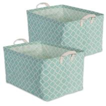 "DII Cotton/Polyester Cube Laundry Basket, Perfect In Your Bedroom, Nursery, Dorm, Closet, 12.5 x 18 x 10.5"", XL Set of 2 - Aqua Lattice"