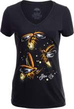 Fireflies | Lightning Bug Firefly Nature Art Insect Fire Fly V-Neck T-Shirt for Women