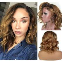 Body Wave Human Hair Ombre Lace Front Wigs with Baby Hair Short Bob Wavy 1b27 Two Tone Brazilian Hair for Black Women BLeached Knots (10inch, Lace front wig)